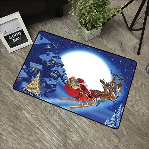 Felpudo Interior con diseño de Papá Noel en un Patinete y ...