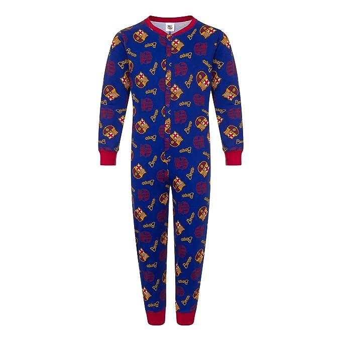 FCB FC Barcelona - Pijama de una Pieza para niños - Producto Oficial - Azul -