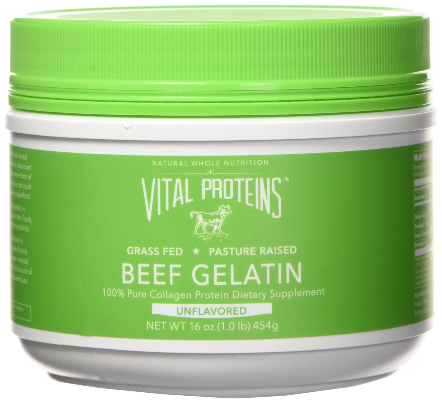 Vital Proteins Beef Gelatin : Pasture-Raised, Grass-Fed, Non-GMO (16 oz) - Gluten free, Dairy free, Sugar free, Whole30 Approved, and Paleo friendly