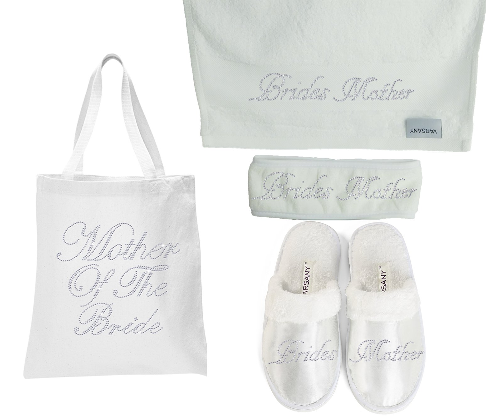 Varsany Mother Of The Bride Spa Rhinestone Bridal Tote Bag+Slippers+Hand Towel+Headband Honeymoon Hen Party gift (4)