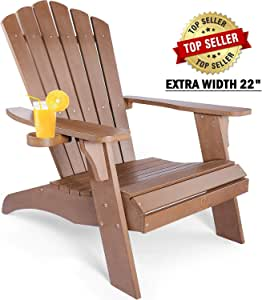 OT QOMOTOP Oversized Adirondack Chair, Cup Holder, Unfolding Lounge Chair, 350lbs Duty Rating, All-Weather Chair for Beach,Backyard, Patio, Porch and Garden, 38L 30.25W 41.5H (Brown)