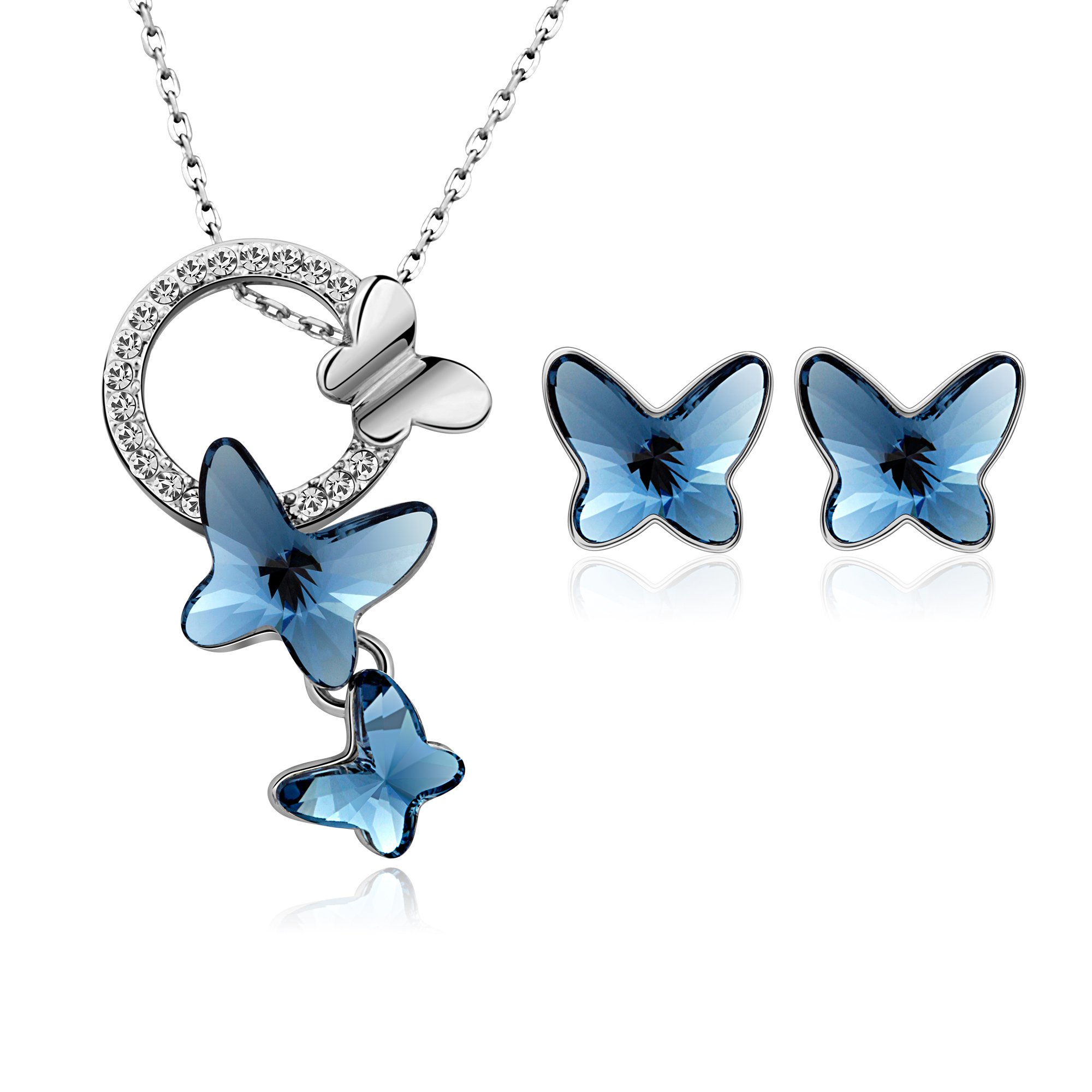 T400 Blue Butterfly Jewelry Sets Dream Chasers Pendant Necklace and Stud Earrings Made with Swarovski Crystals Love Gift