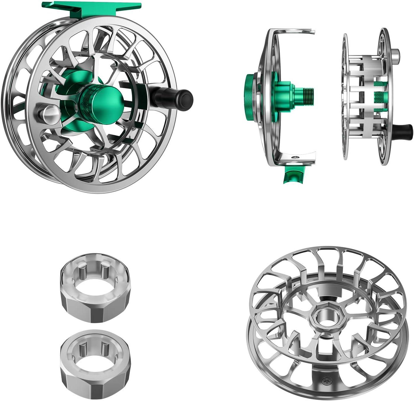 Magreel Carrete de Pesca con Mosca con Cuerpo de Aleaci/ón de Aluminio Mecanizado CNC 5//6 7//9 Pesos 3//4