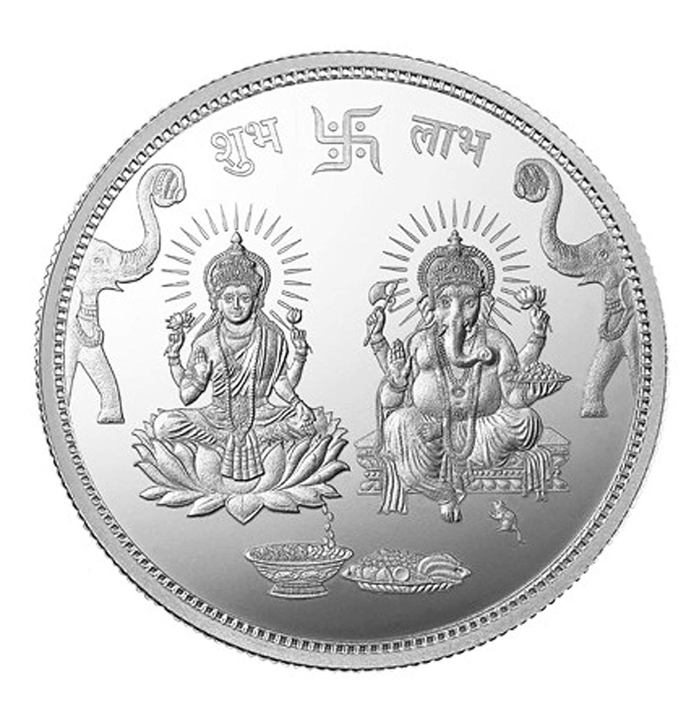 Arihant Gems and Jewels Mmtc-Pamp 10 Gm  Ganesh Lakshmi Ji Silver(999) Coin  with Capsule Packing
