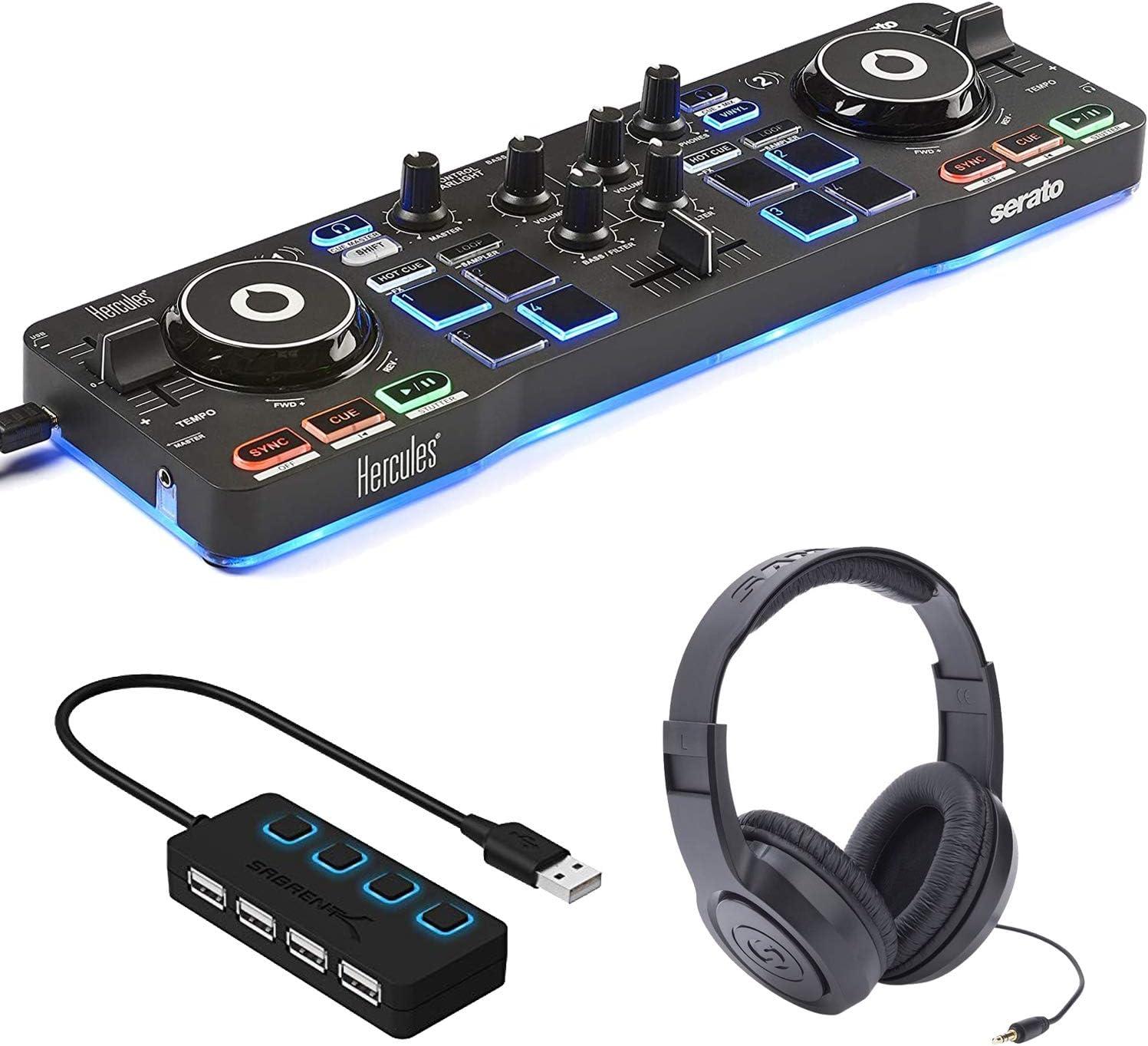 헤라클레스 DJ 제어 별빛-SERATO DJ LITE+4 포트 USB 허브가있는 DJ 소프트웨어 컨트롤러