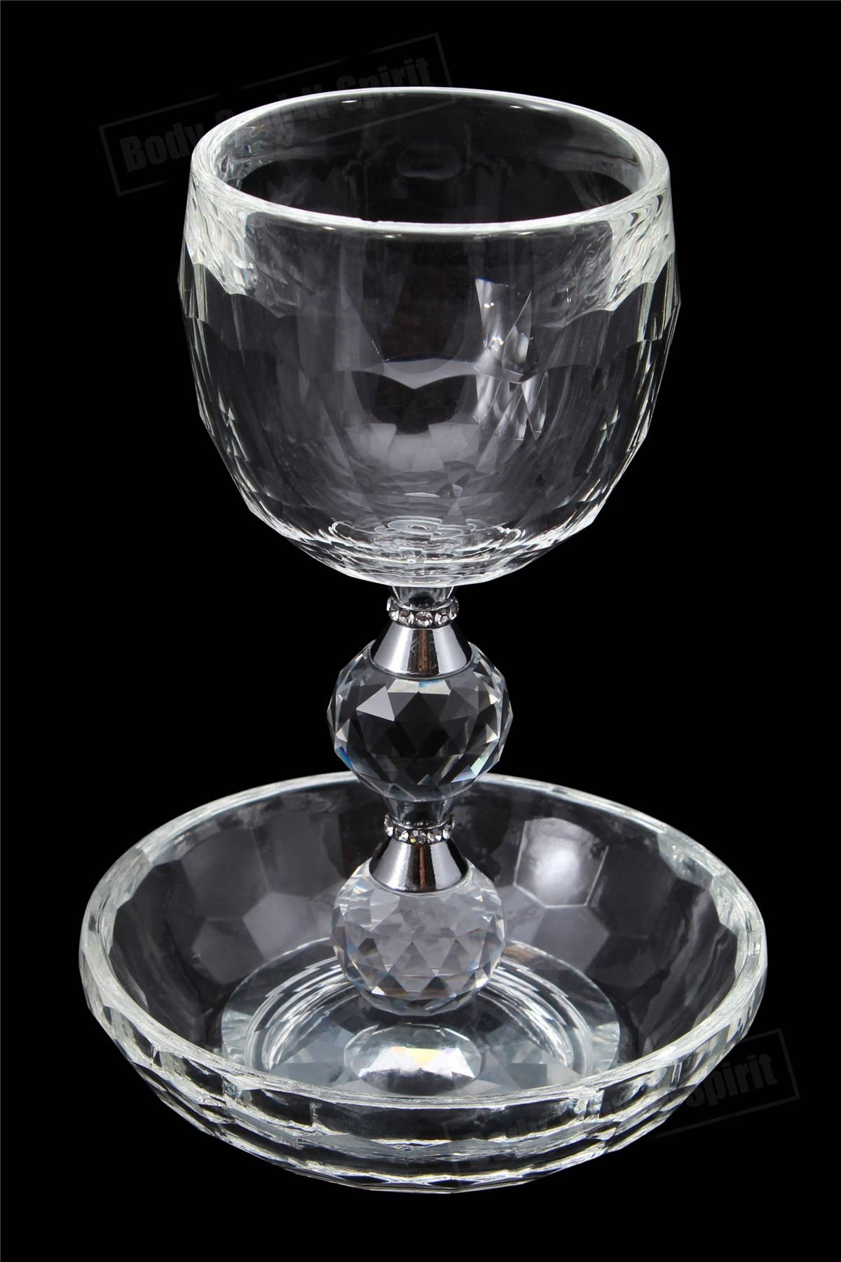 Crystal SHABBAT HOLIDAY Wine Kiddush Cup Goblet Israel Holy Jewish Judaica