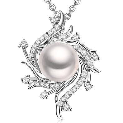 Pendentif en forme de fleur pour femmes en argent avec perle de culture d'eau douce