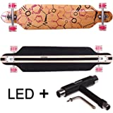 FunTomia Freerider Longboard / Érable canadien 9 Plis / charge max 110 kg / Roues 70x51mm / Roulements ABEC-11