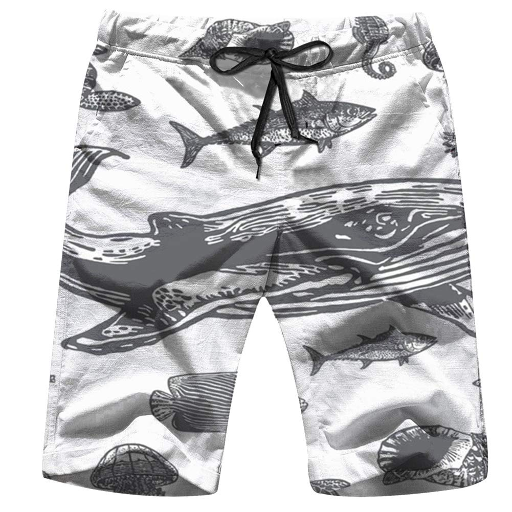 Astronaut Hand Drawn Mens Swim Trunks Summer Beachwear Board Shorts Quick Dry Print