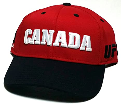 2713e8936a4 Image Unavailable. Image not available for. Color  UFC Reebok MMA Red White  Black Canada Country Pride Adjustable Snapback Hat Cap