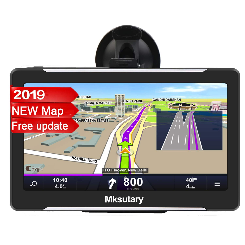 GPS Voiture Auto - Cartographie Europe 50 Pays - 7 Pouces Ecran Tactile Haute Luminosité avec Dispositif Anti-reflet - Support Stable avec Grande Ventouse Chargeur de Voiture