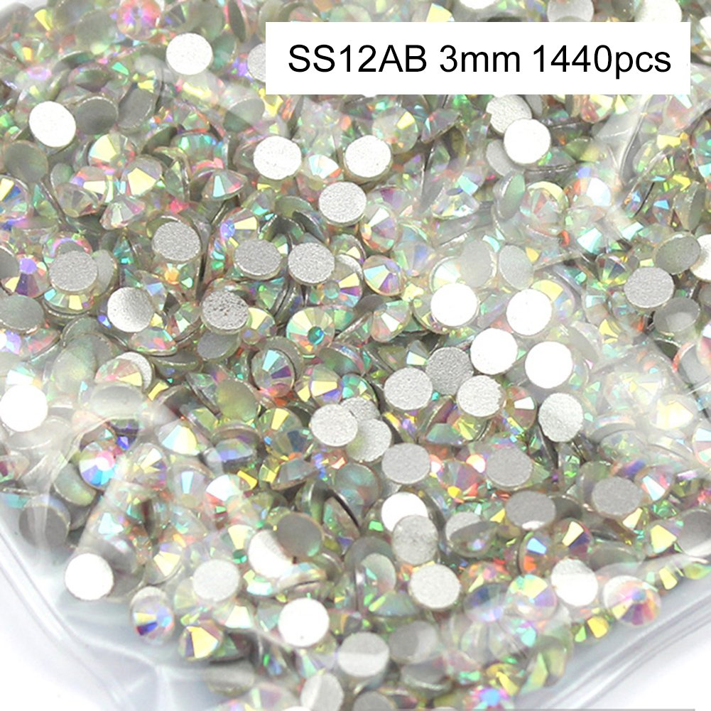 1440PCS Strass pour Ongle Bijoux Argent Fond Diamant AB Diamant Bricolage Strass Cristal Ongle Manucure Nail Art Glitter Ruier-hui