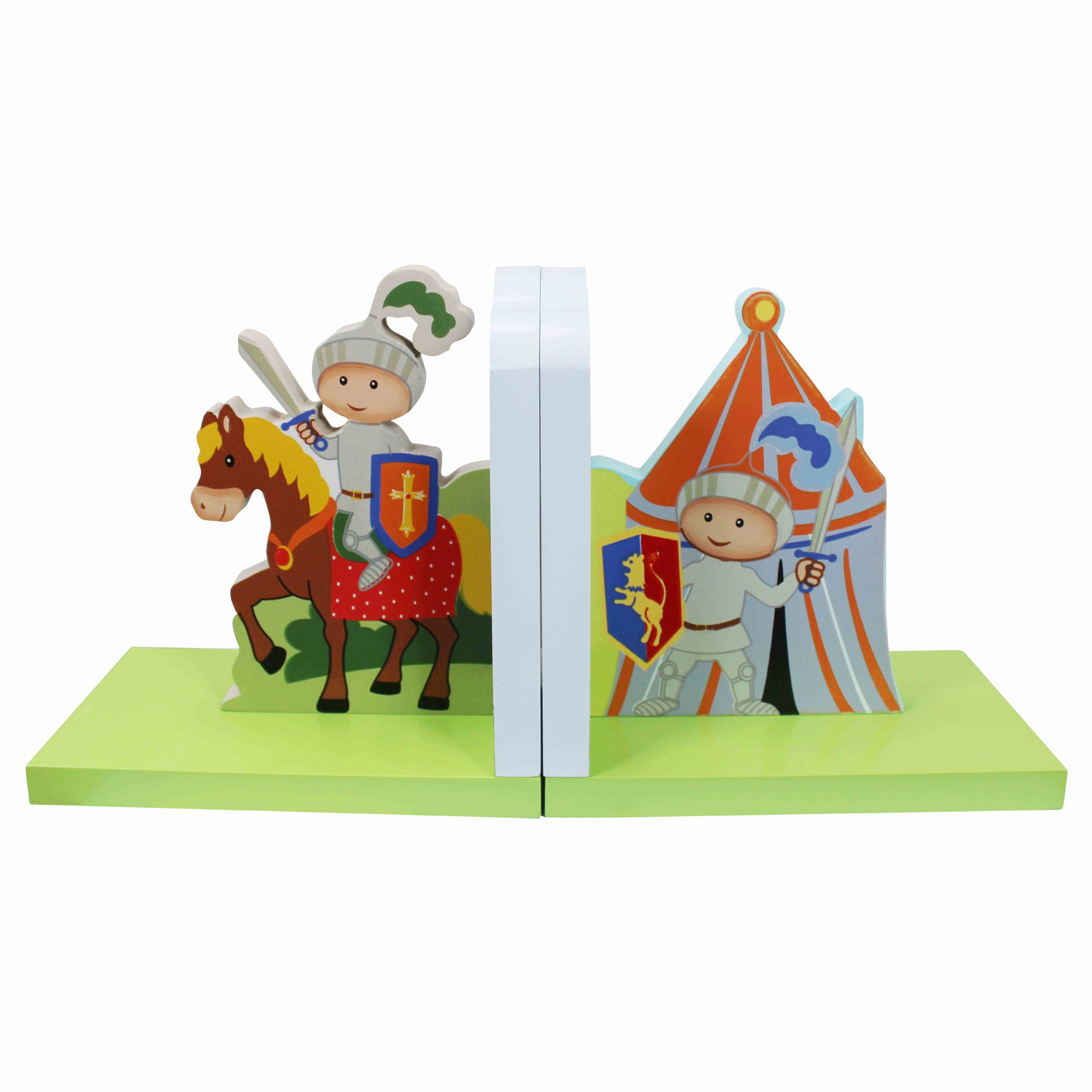 Fantasy Fields Knights & Dragon Thematic Set of 2 Wooden Bookends for Kids |  Imagination Inspiring  Hand Crafted & Hand Painted Details Non-Toxic, Lead Free Water-based Paint