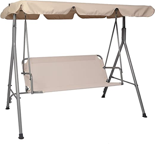 Cushions and Pillow Included Adjustable Tilt Canopy Wenini USA in Stock 3-Seat Deluxe Outdoor Patio Porch Swing with Weather Resistant Steel Frame with Foldable Side Table