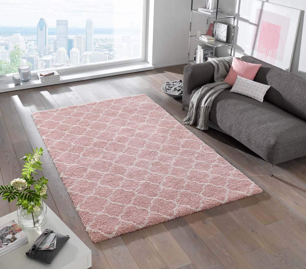 Mint Rugs 102602_80x150 Design Verlour Deep-Pile Teppich Luna, Kunstfaser, rosa Creme, 150 x 80 x 3.5 cm