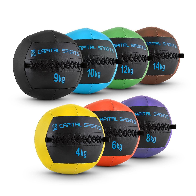Capital Sports Epitomer Wall Ball Set Medizinball Leder Gewichtsball Gymnastikball (griffige Oberfläche, vernähtes Kunstleder, für Core- Cross- und Functional Training, hochwertige Verarbeitung)