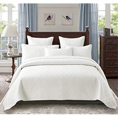 Calla Angel Evelyn Stitch Diamond Luxury Pure Cotton Quilt, Ivory, King