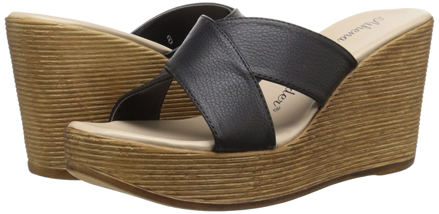Athena Alexander Women's Rialto Wedge Sandal B01BV3V788 10 B(M) US|Black Leather