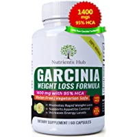 Garcinia Cambogia 100% Pure 1400mgs - 95% HCA Extract 60 Veggie Weight Loss Pills, Natural Appetite Suppressant, Carb Blocker and Fat Burner Weight Loss Supplement for Women & Men