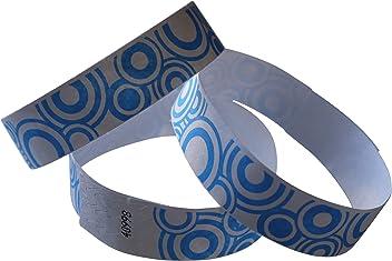 100 Tyvek-Eintrittsbänder gelb-aqua bedruckt WELLEN-Wave wristbands-bracelets