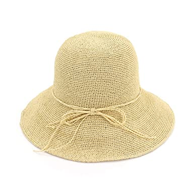 1aff012b568 Summer Hats for Women Femme Foldable Sun Hat Panama Handmade Crochet Straw  Hat Large Wide Brim