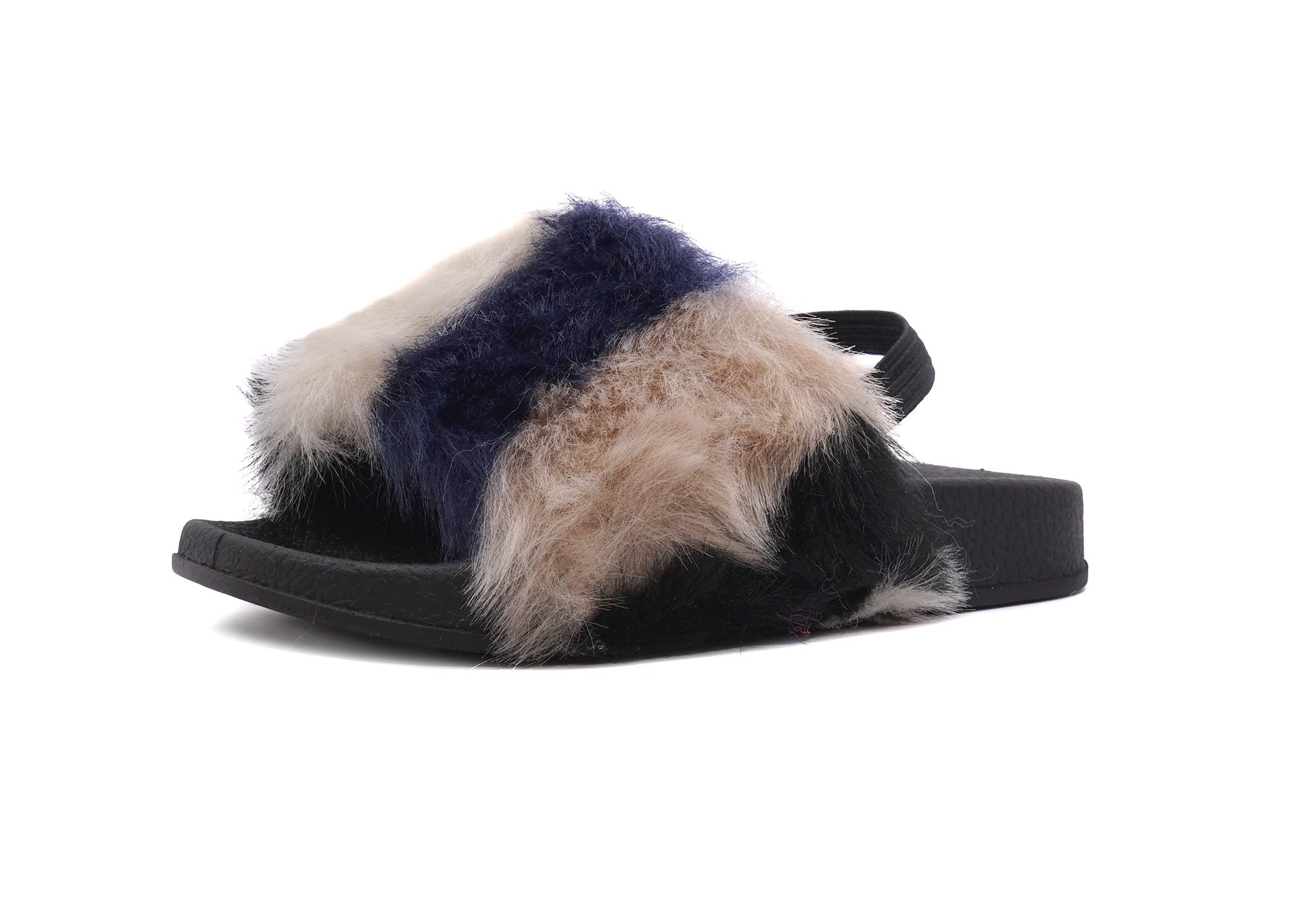 Simply Petals Kids' Fur Slip On Slide Sandal Slippers (7 M US Toddler, Tan)