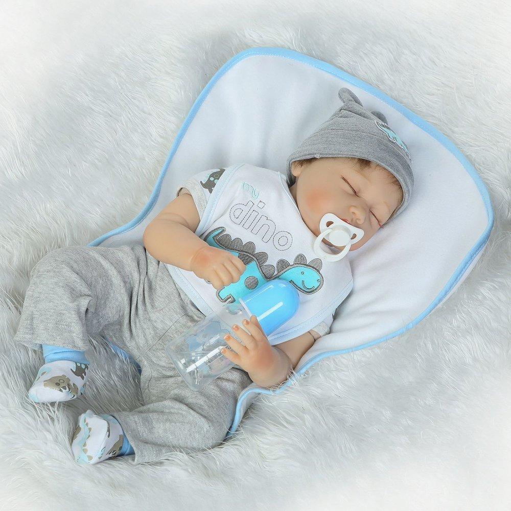 22 pulgadas de ojos cerrados Baby Doll de cuerpo completo de vinilo de silicona suave Baby Doll Toy (Color: colorido)