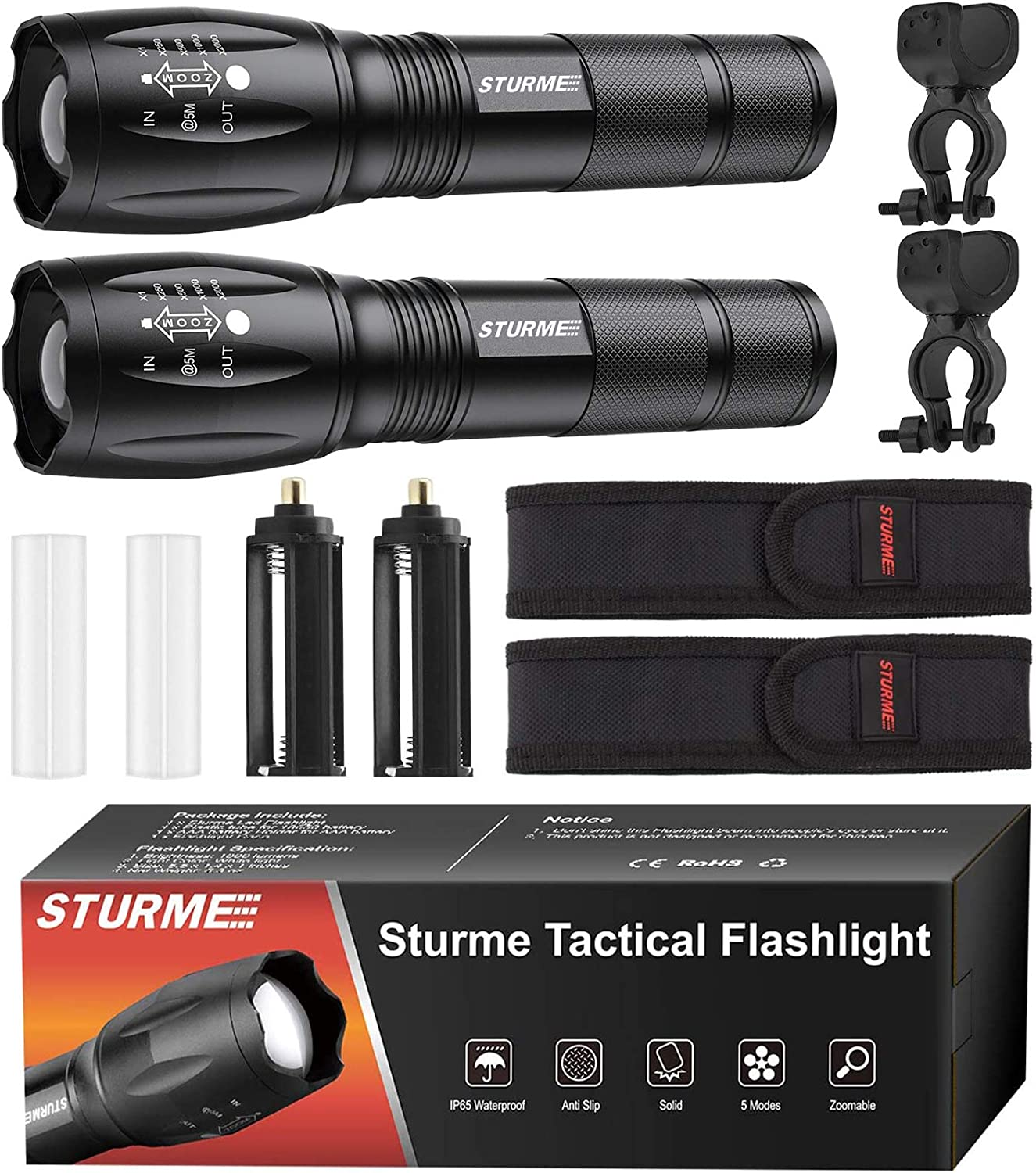STURME LED Tactical Flashlight,5 Modes Ultra Bright Zoomable IP65 Water-Resistant High Lumens CREE LED Handheld Flash Light, Perfect for Camping Outdoor Sports Home Use