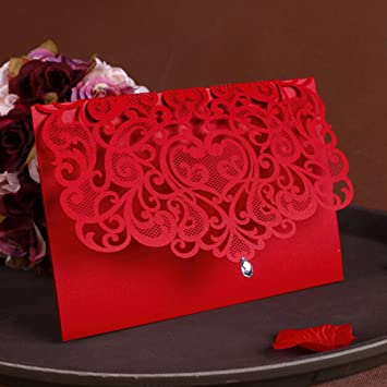 Amazon Com Womhope 50 Pcs Classic Red Color Laser Cut Lace Card