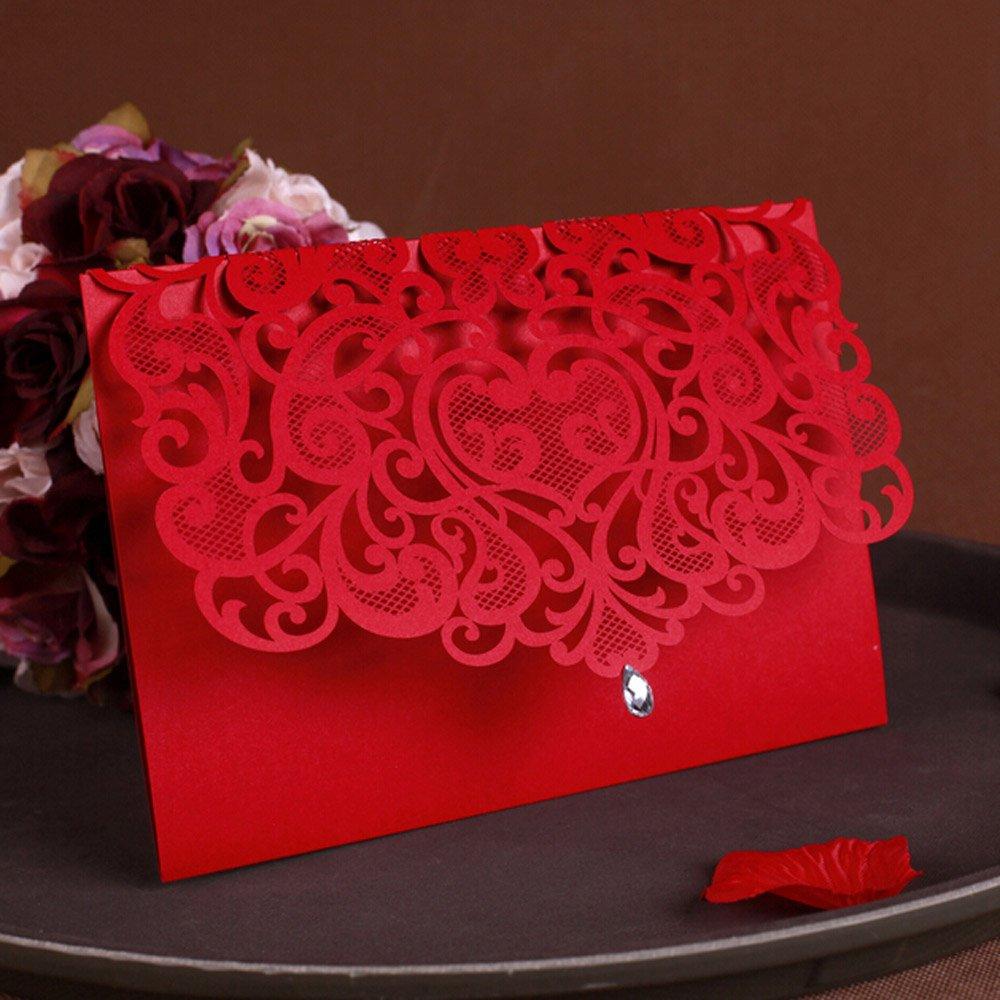 WOMHOPE® 50 Pcs - Classic Red Color Laser Cut Lace Card Wedding Invitation Party Folding Invitations Cards Birthday Invitations Cards Wedding Favors with Acrylic Rhinestone (B)