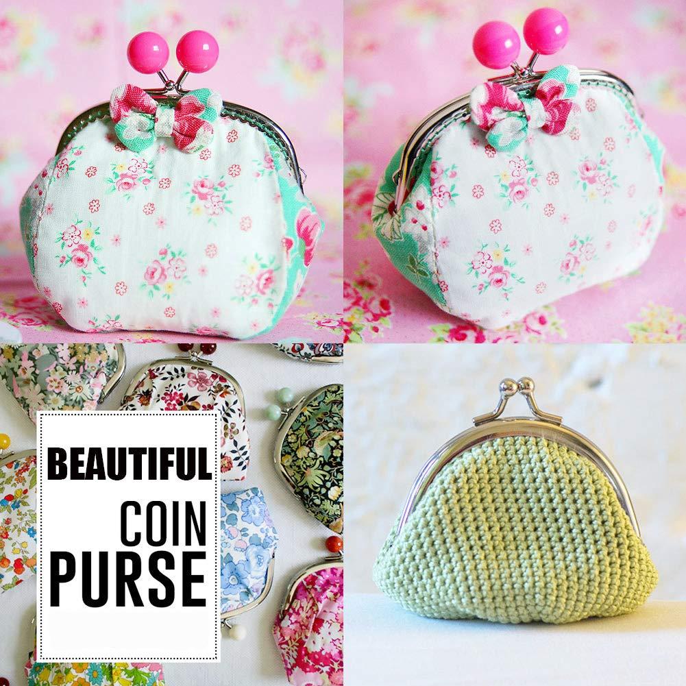 PH PandaHall 6pcs 3 Colors Clutch Coins Purse Metal Arc Frame Kiss Clasp Key Ring Handbag Handle Frame