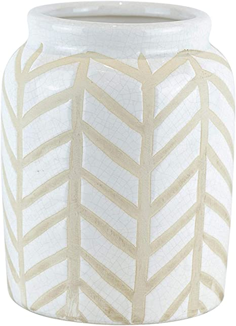 Benjara Bm188106 Crackled Textured Ceramic Table Vase With Geometric Pattern White And Beige Home Kitchen