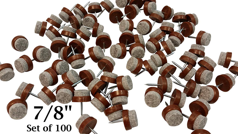 Felt Bottom Nail-On Chair Glides Protect Tile & Hardwood Floors 7/8'' - Set of 100