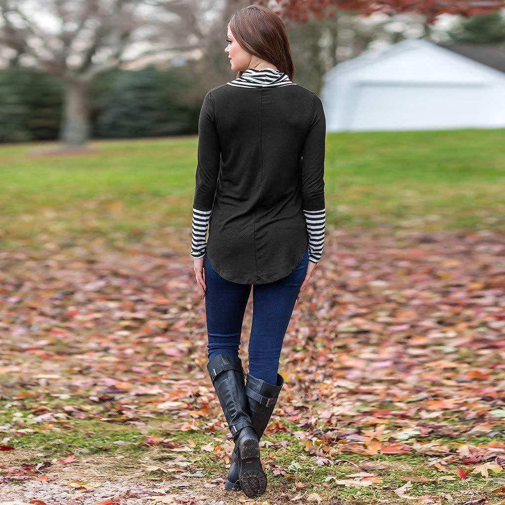 Leoy88 Women O-Neck Stripe Long Sleeve Sweatshirt Pullover Tops Blouse Shirt