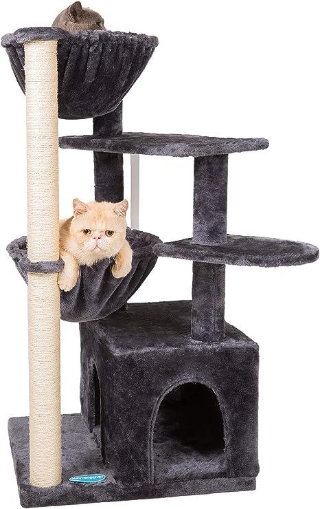 Hey-brother 100cm Árbol para Gato, Torre de Escalada de Varios Niveles, Árbol Rascador para Gatos, con 1 Cesta Flotante, Nidos, Poste De Rascar De ...