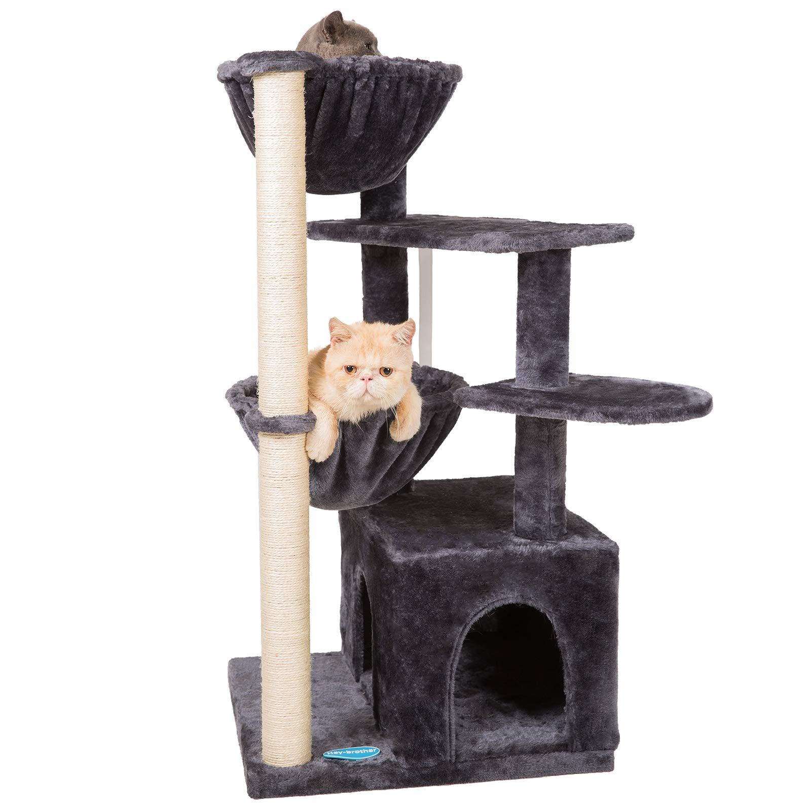 Hey-brother Multi-Level Cat Tree Condo Furniture with Sisal-Covered Scratching Posts for Kittens Cats and Pets
