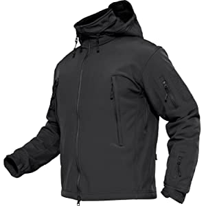 TACVASEN メンズ コート ソフト シェル ジャンパー 防水 アウター ジャケット ミリタリー 登山 パーカー 秋冬用 ブラック 3XL