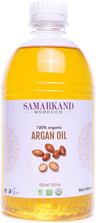 500 ml Aceite de Argán Bio 100% Puroprimera Presión en Fríopara Pelo & Piel - El Argán Original de Marruecos