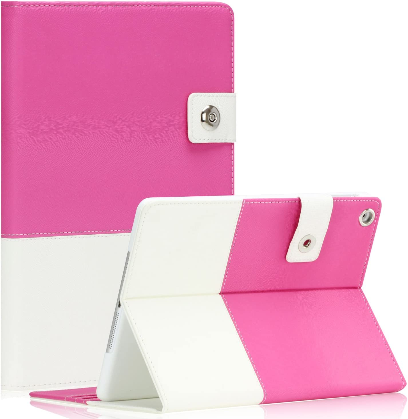 SAVEICON Hybrid Leather Folio Case Cover for Apple New iPad Mini/Mini 2 / Mini 3 Case 7.9 Inch WiFi 3G 4G LTE with Built-in Stand and Card Slots Auto Wake/Sleep Smart Cover (Hot Pink)