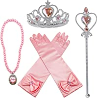 FancyDressWale Princess Elsa Cinderella Rapunzel Plastic Dress up Accessories Set for Girls (Pink)
