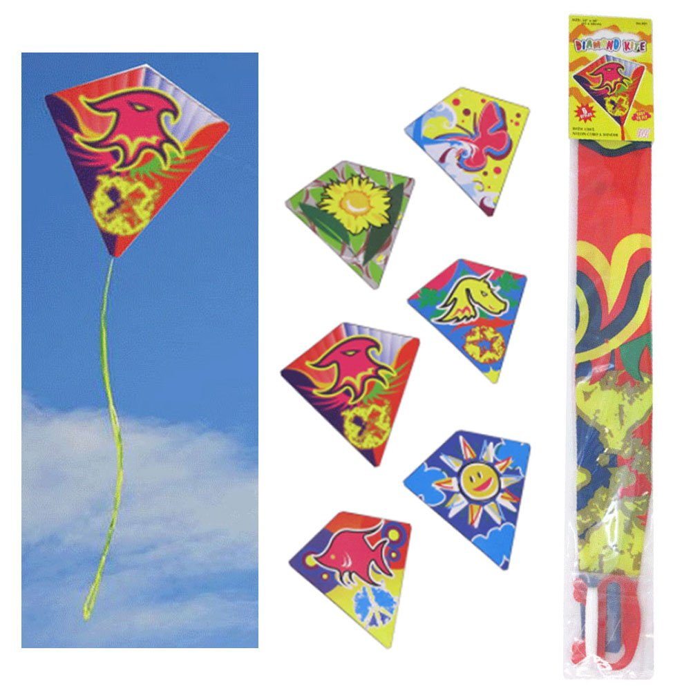 6 Pc Diamond Kite Easy Flyer Fun Kids Breeze Beach Outdoor Games Toys 24'' x 26''