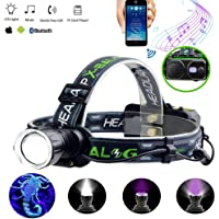 LED Rechargeable Headlamp flashlight With Wireless Bluetooth Speaker,for Camping, Running, Hiking and Reading,LED Headlight Can read micro sd card and USB,Wireless Link Phone to Listen to Mp3 Music