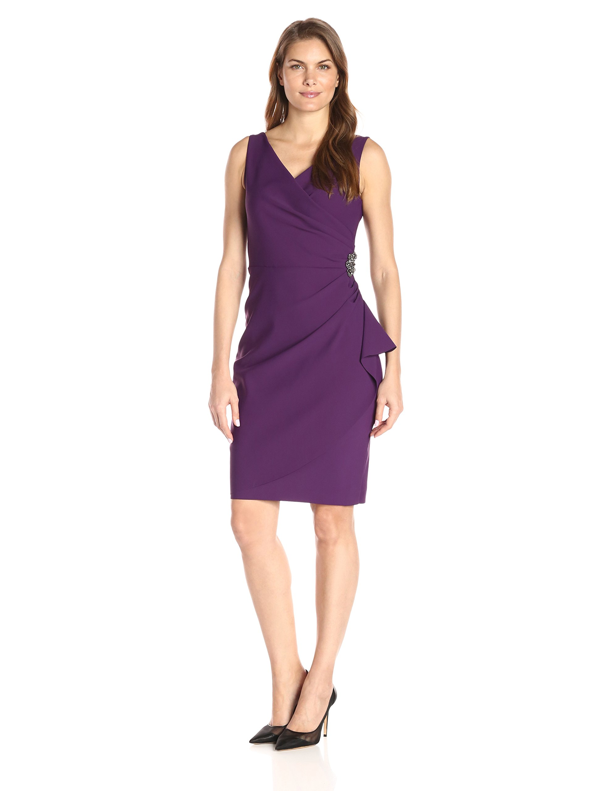 Alex Evenings Women's Short Side Ruched Dress With Cascade Ruffle Skirt, Summer Plum, 14