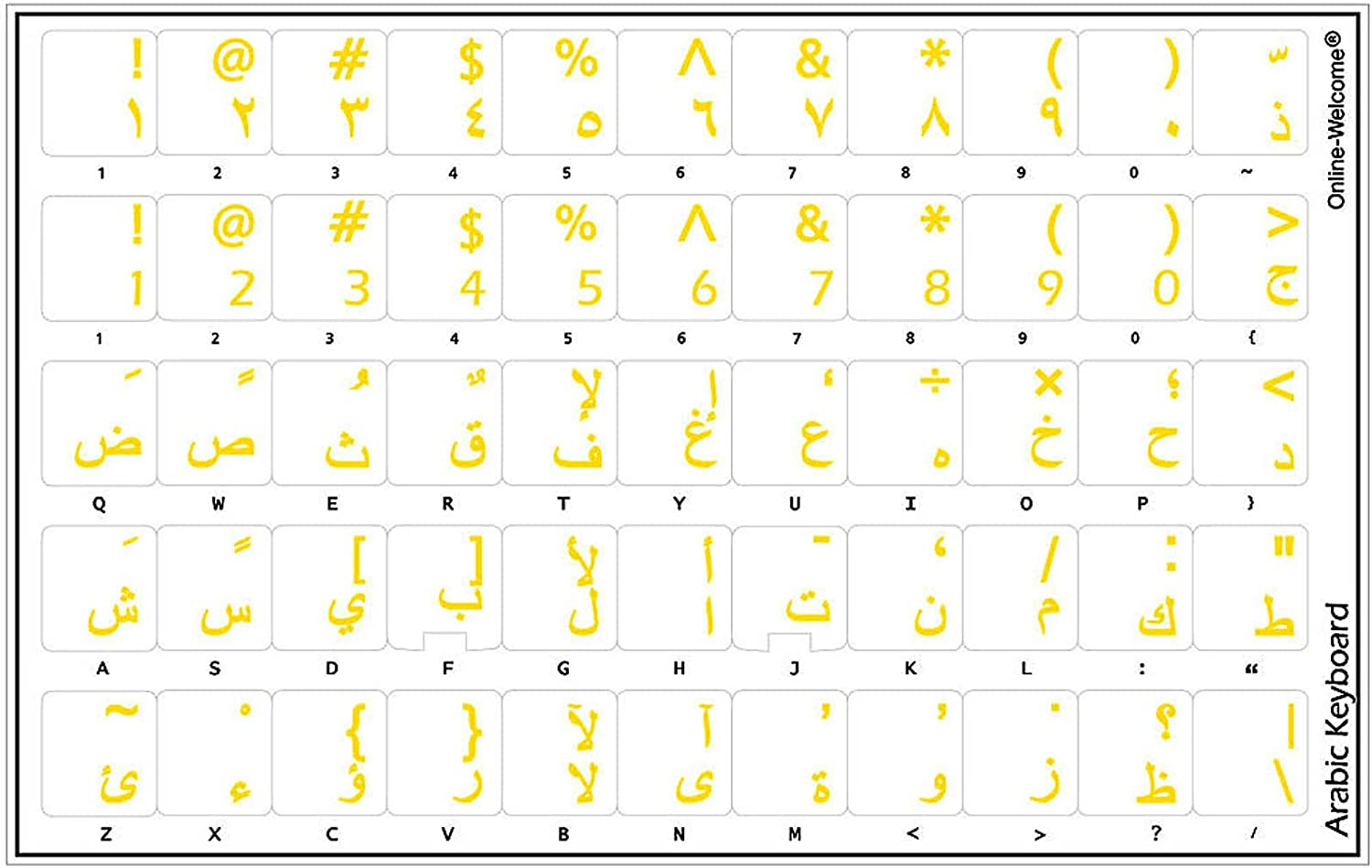 Online-Welcome Arabic Keyboard Stickers Transparent Yellow Letters for Any Laptop Computer PC Desktop Notebook