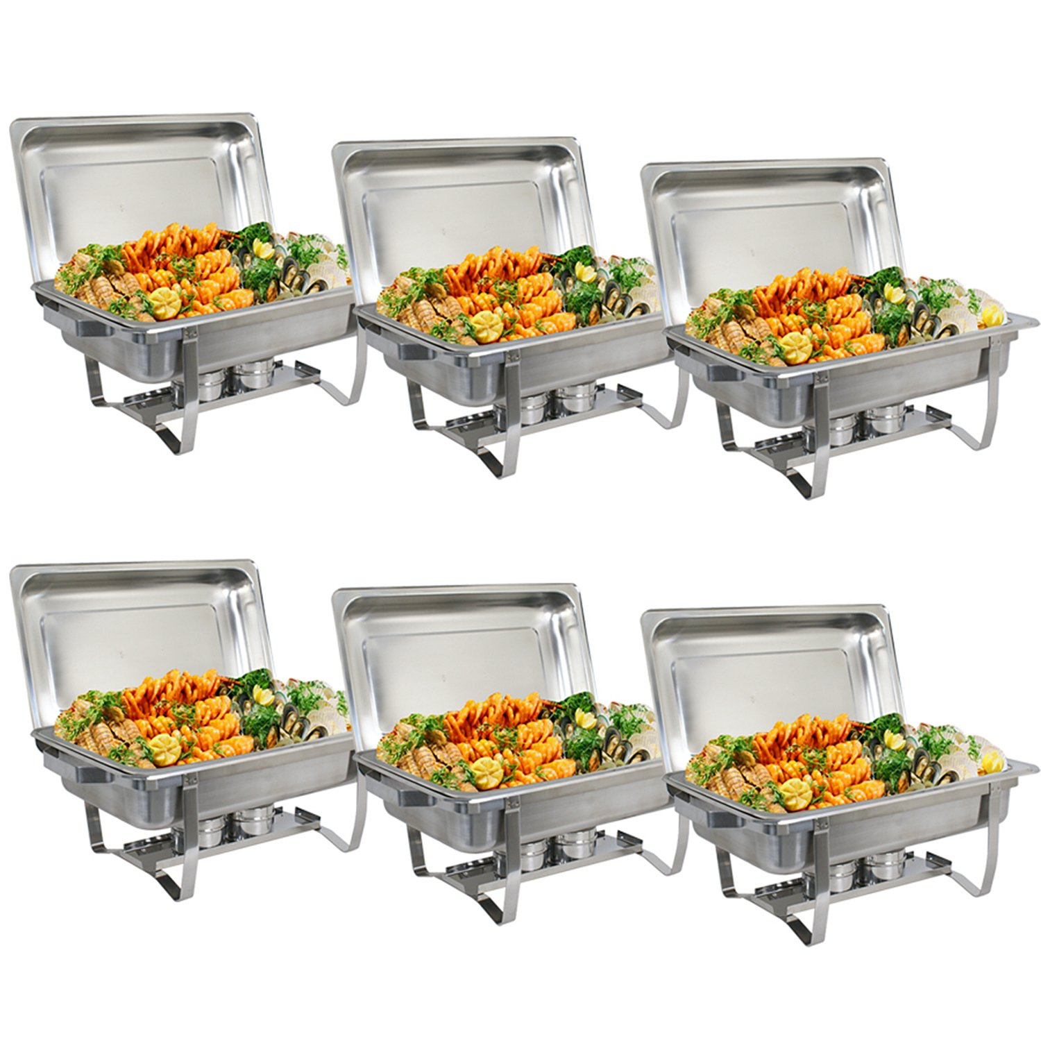ZenChef Upgraded 8 Qt Stainless Steel Chafer, Full Size Chafer, Chafing Dish w/Water Pan, Food Pan, Alcohol Furnace and Lid (Pack of 6)