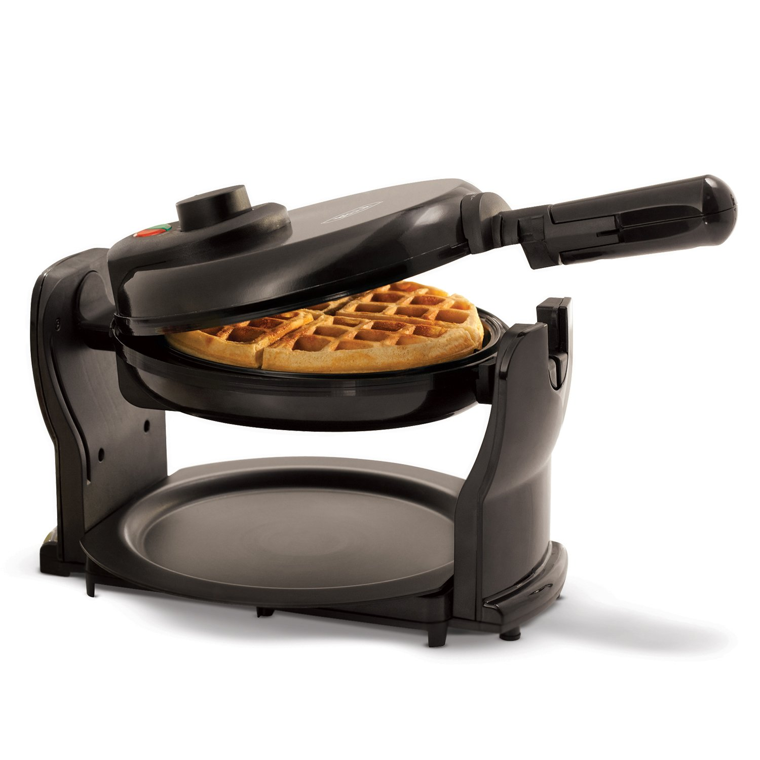BELLA (13591) Classic Rotating Non-Stick Belgian Waffle Maker with Removeable Drip Tray & Folding Handle, Pro Black