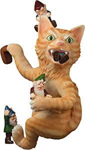 """Bella Haus Design The Great Cat Gnome Massacre Fence Hanger – 12"""" Polyresin Outdoor Wall Décor - Detailed Hanging Statue – Climbing Cat with Gnome for Patio, Porch, Fence, Garden"""
