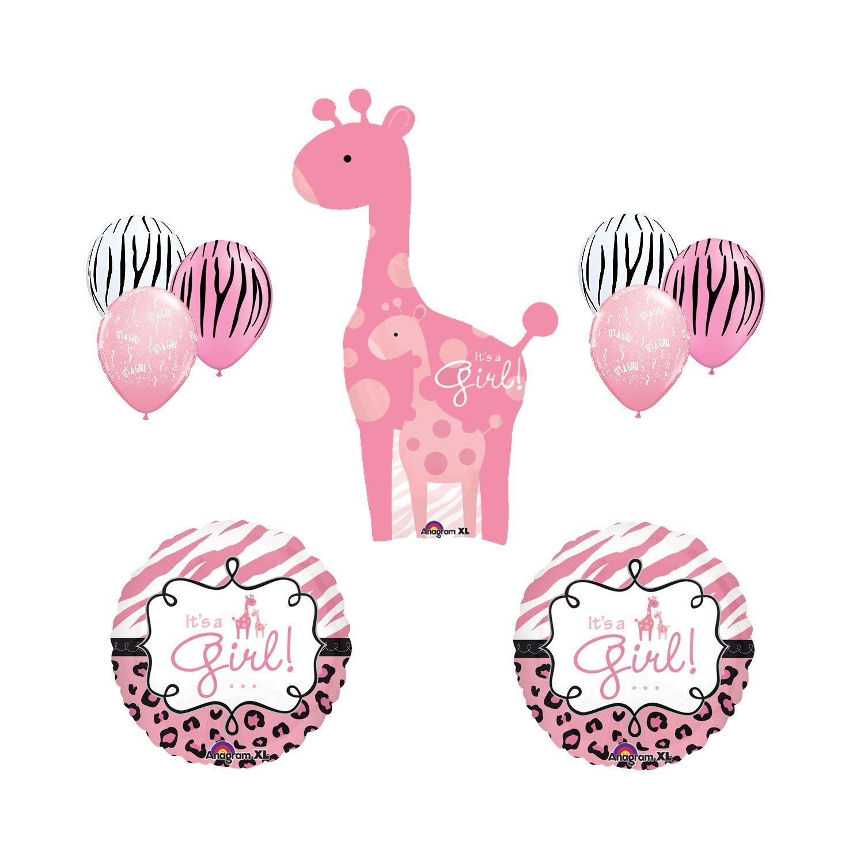 Amazon Safari It s a Girl Giraffe Pink Zebra Balloon Baby