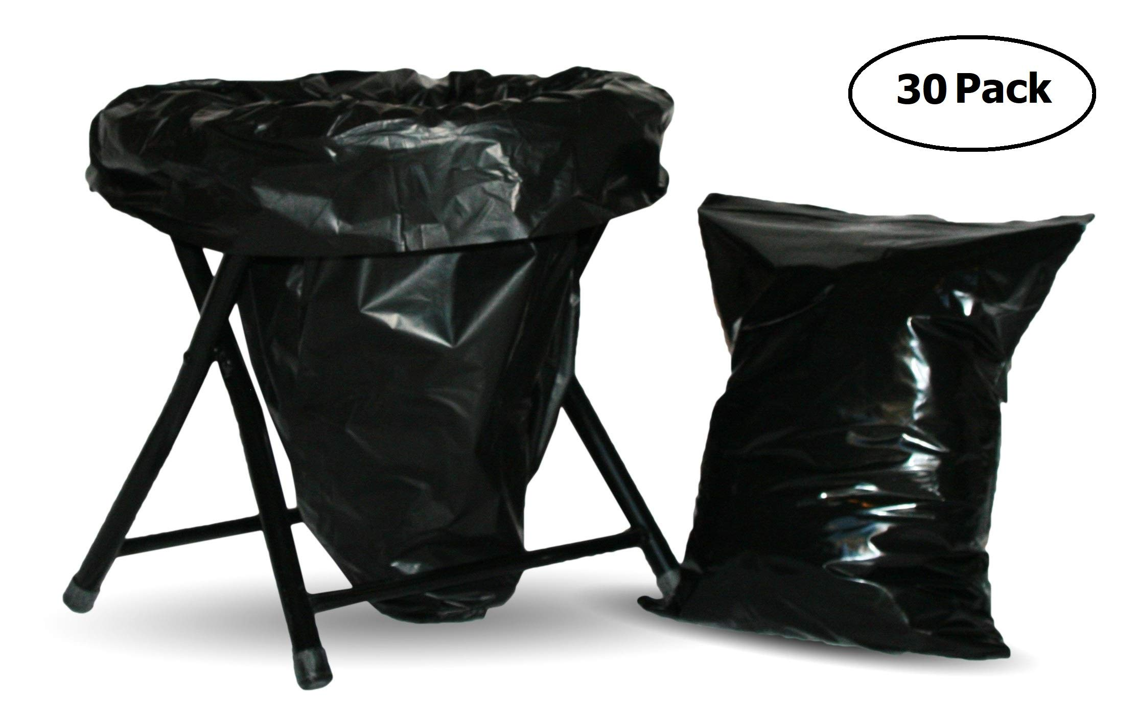 Trail Essentials Carry-Out Toilet Waste Bags and Toilet Liner Bags, Reclosable Outer Bag, Black Opaque, Zip Seal, Leak Free, Smell Proof (30 Toilet Liners + 30 Carry-Out Bags)