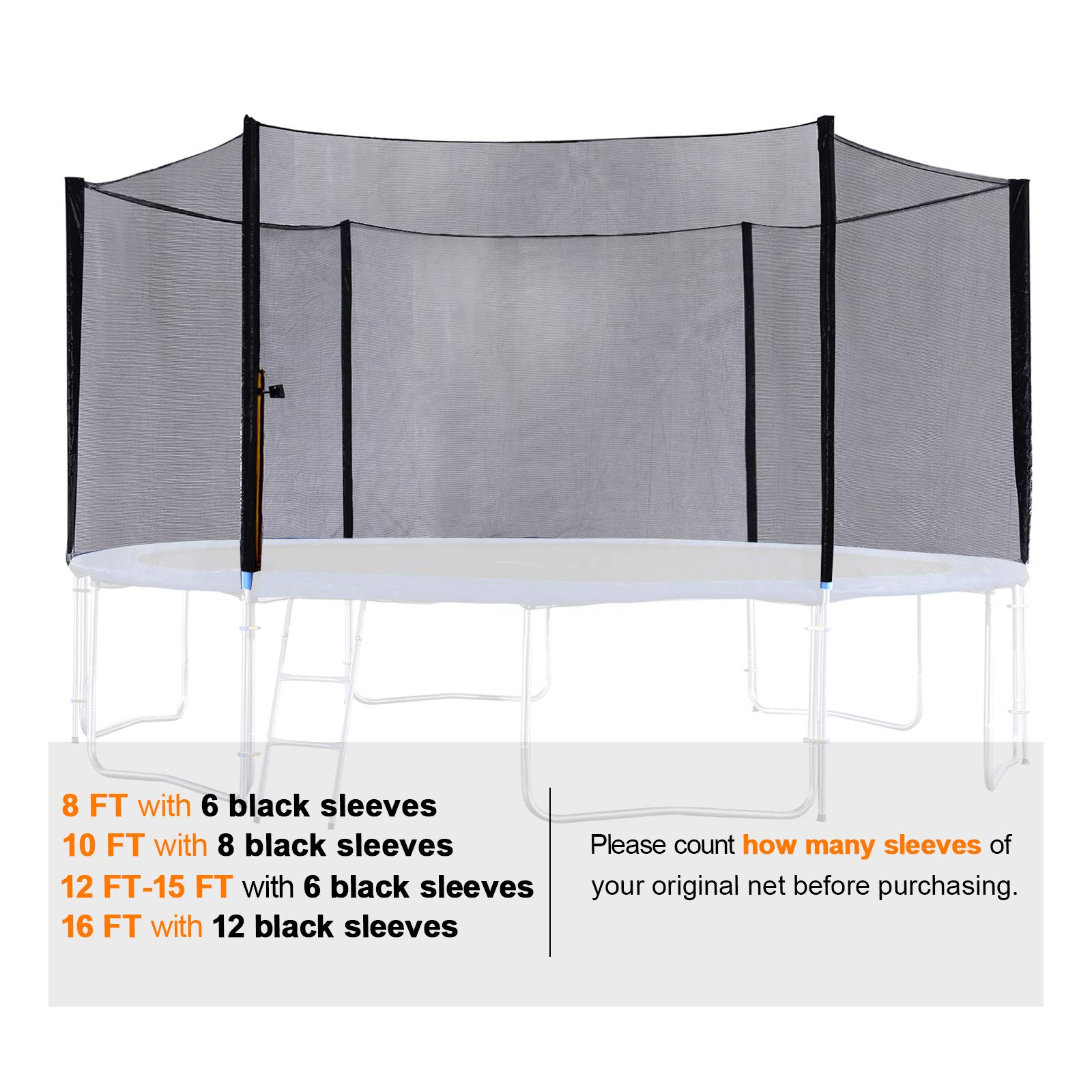 ExacMe Replacement Netting Outer Safety Net Without Poles for T-Series 10ft-16ft Trampoline-Net Only 6180 EN10T-EN16T (Fit Exacme T-Series 16ft) by Exacme (Image #5)